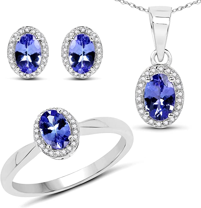 Design Attractive Sale Joyful Tanzanite Solitaire Silver White Gold Plated Ring Love Valentine 2021 Propose Handmade 9K,14K
