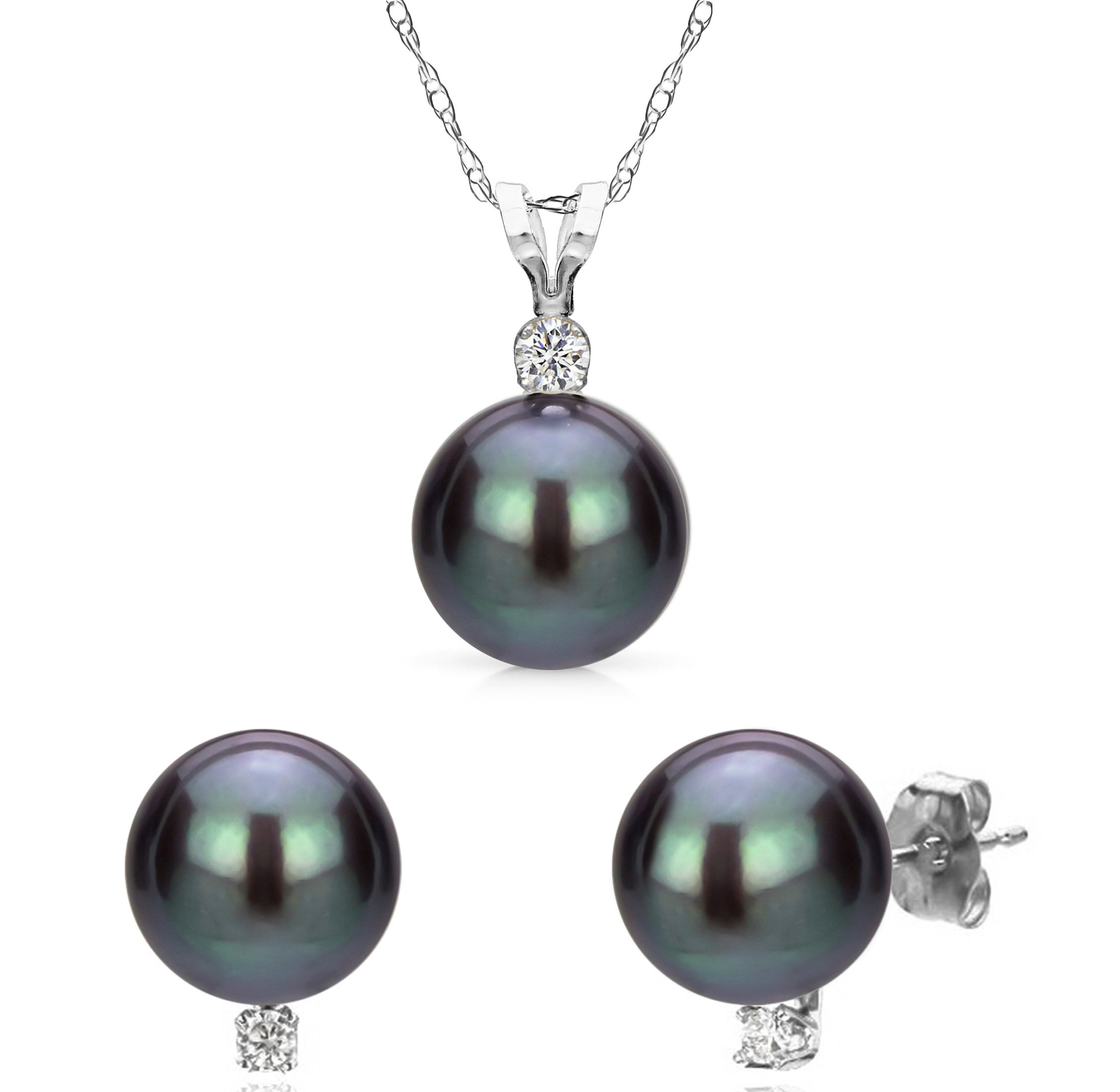 14K White Gold Necklace Pendant Freshwater Cultured Black Pearl Stud Earrings Gift for Mom 9-9.5mm