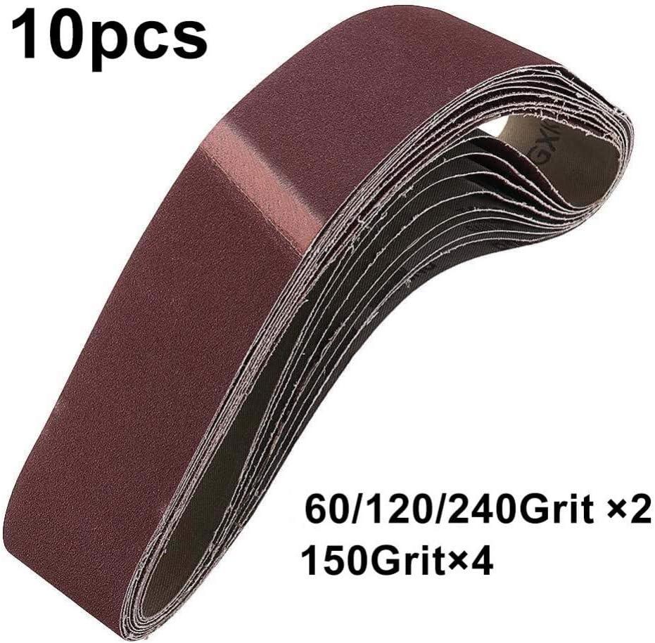 2 piezas//cada grano WHKKLN Juego de bandas de lijado de 10 piezas de 40 mm x 680 mm Juego de 60//120//150//240 de grano