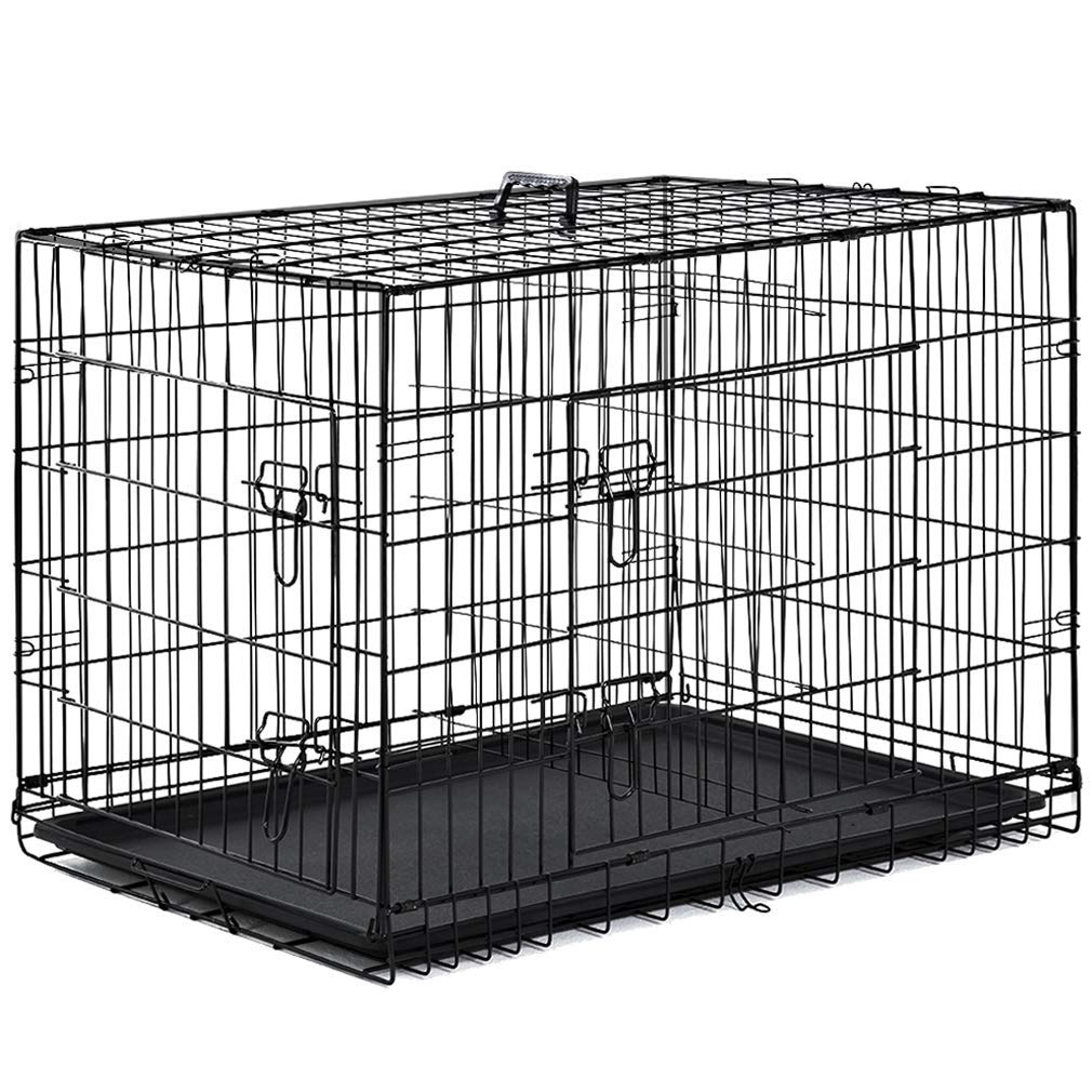 Dog Crate Dog Cage Pet Crate 48'' Folding Metal Pet Cage Double Door W/Divider Panel Dog Kennel Leak-Proof Plastic Tray Wire Animal Cage (Renewed)