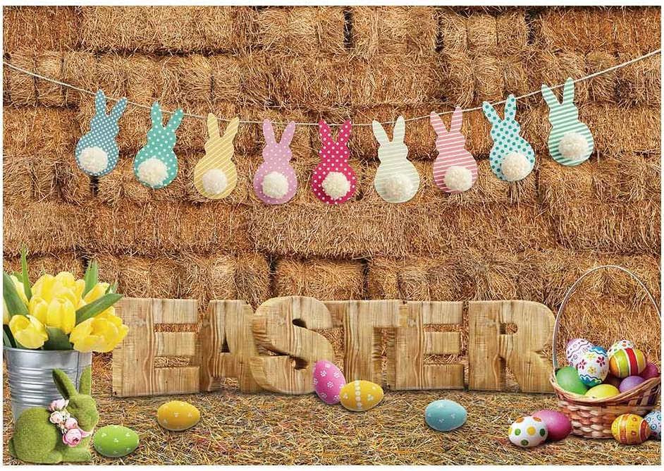 Yeele-Easter-Backdrop 9x9ft Happy Easter Photography Background Eggs Rabbit Grassland Butterfly Tulip Photo Backdrops Pictures Studio Props Wallpaper