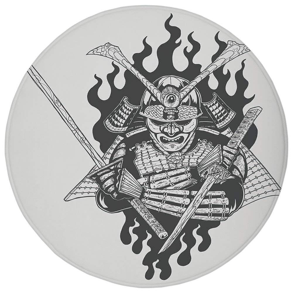 Round Rug Mat Carpet,Japanese,Fearsome Ghost Ninja in Fire ...