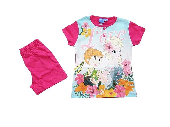 ea71b3a5d3 Disney Pigiama Bambina Estivo Anna e Elsa Frozen, a Maniche Corte in Cotone  - 46322