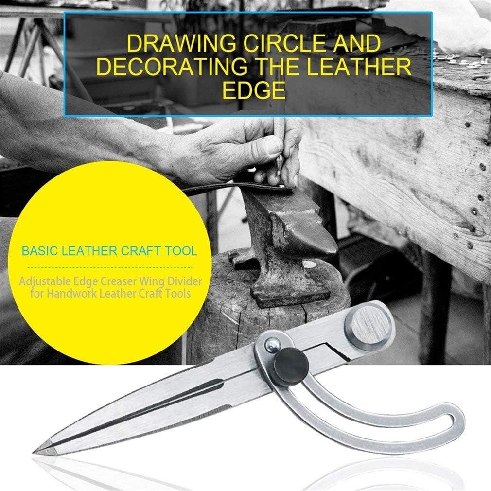 Leoboone Craft Fabricaci/ón de cuero herramienta giratoria ala ajustable divisor de borde Creaser DIY costura de cuero artesan/ía de metal herramientas de marcado