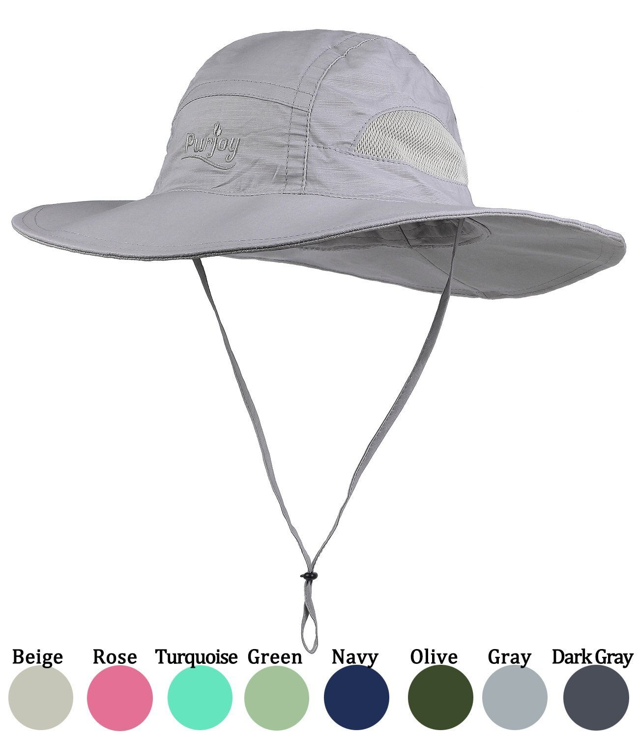 Purjoy Sun Hat for Men & Women,Wide Brim UV Protection Beach Cap, Breathable Outdoor Boonie Hats with Adjustable Drawstring Design,Perfect for Hiking,Fishing,Camping,Boating(Gray1)