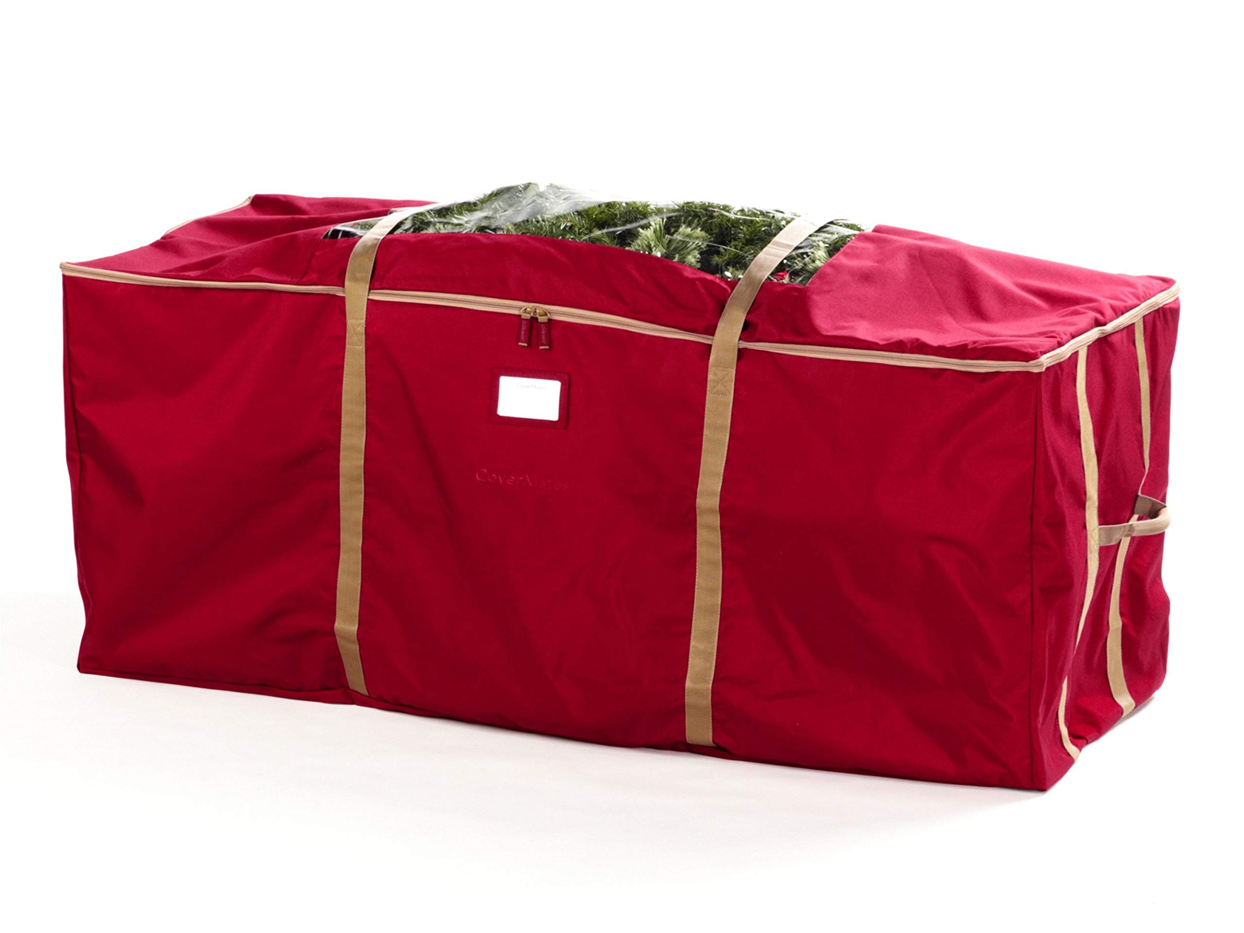 CoverMates – Holiday Tree Storage Bag – Fits up to 7.5 Foot Tree – 3 Year Warranty- Red