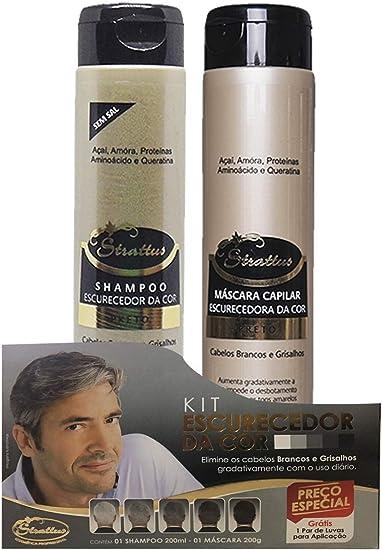 Kit Shampoo Escurecedor + Mascara Strattus Cor Preta Stratus