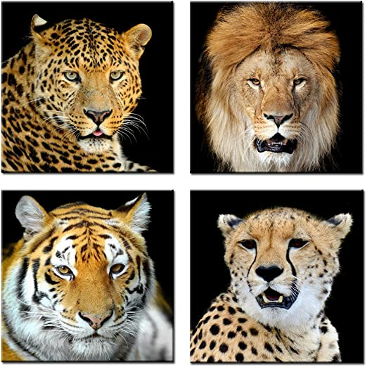 Amazon Com Kreative Arts Canvas Set Of 4 Leopard Tiger Lion Cheetah Picture Print Wall Art Animal Canvas Artwork Stretched Giclee Canvas Printing Hanging Wall Decor Ready To Hang 20 X20 X4pcs Set Posters