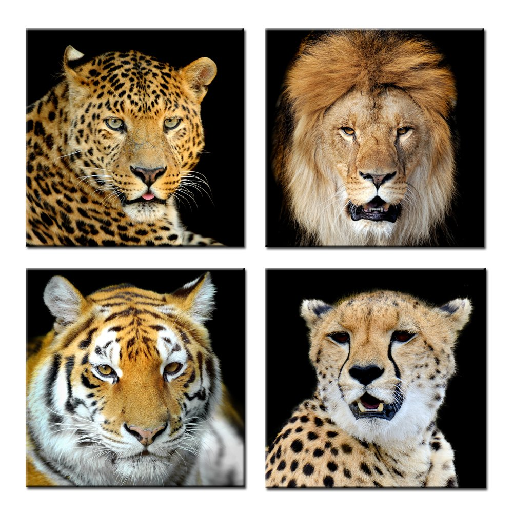 Kreative Arts - Canvas Set of 4 Leopard Tiger Lion Cheetah Picture Print Wall Art Animal Canvas Artwork Stretched Giclee Canvas Printing Hanging Wall Decor Ready to Hang (16''x16''x4pcs/set)