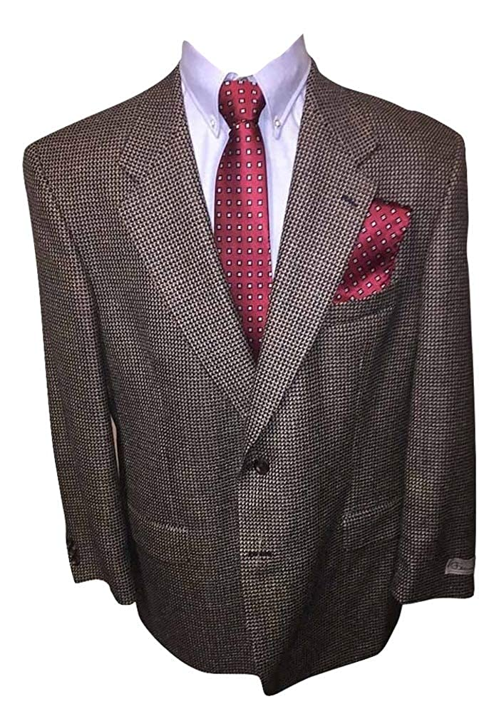 Ferracci Big and Tall 48 Regular All Wool Navy Tan Check Sport Jacket Made in Canada 48R