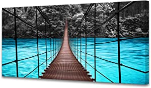 S04375 Wall Art Canvas Print Landscape View of Long Steel Suspension Bridge above the Blue River Picture Paintings the Jungle Modern Artwork Framed Ready to Hang for Living Room Wall Decor Home Office