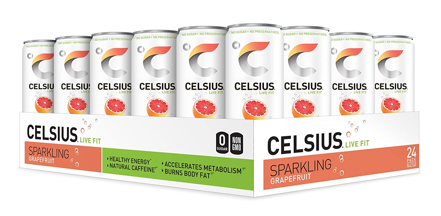 CELSIUS Sweetened with Stevia Sparkling Grapefruit Fitness Drink, Zero Sugar, 12oz. Slim Can, 24 Pack