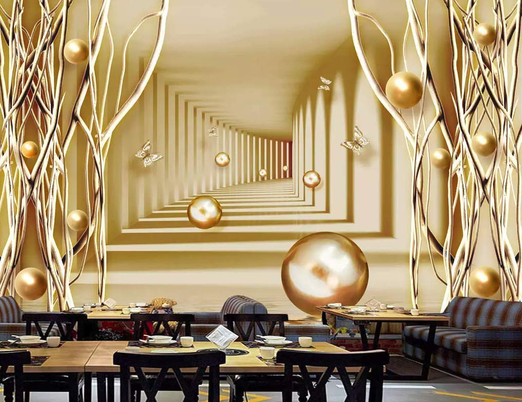 Amazon Com Murwall Abstract Wallpaper Gold Corridor Wall Mural Minimalist Home Decor Cafe Design Living Room Bedroom Entryway Handmade