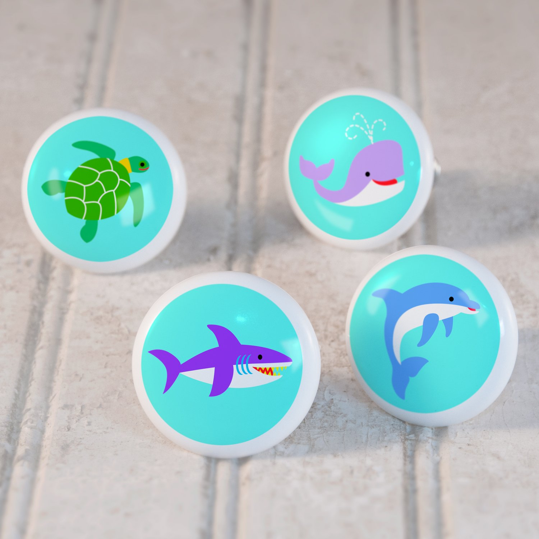 Kids Ceramic Ocean Animals Drawer Knob Set of 4