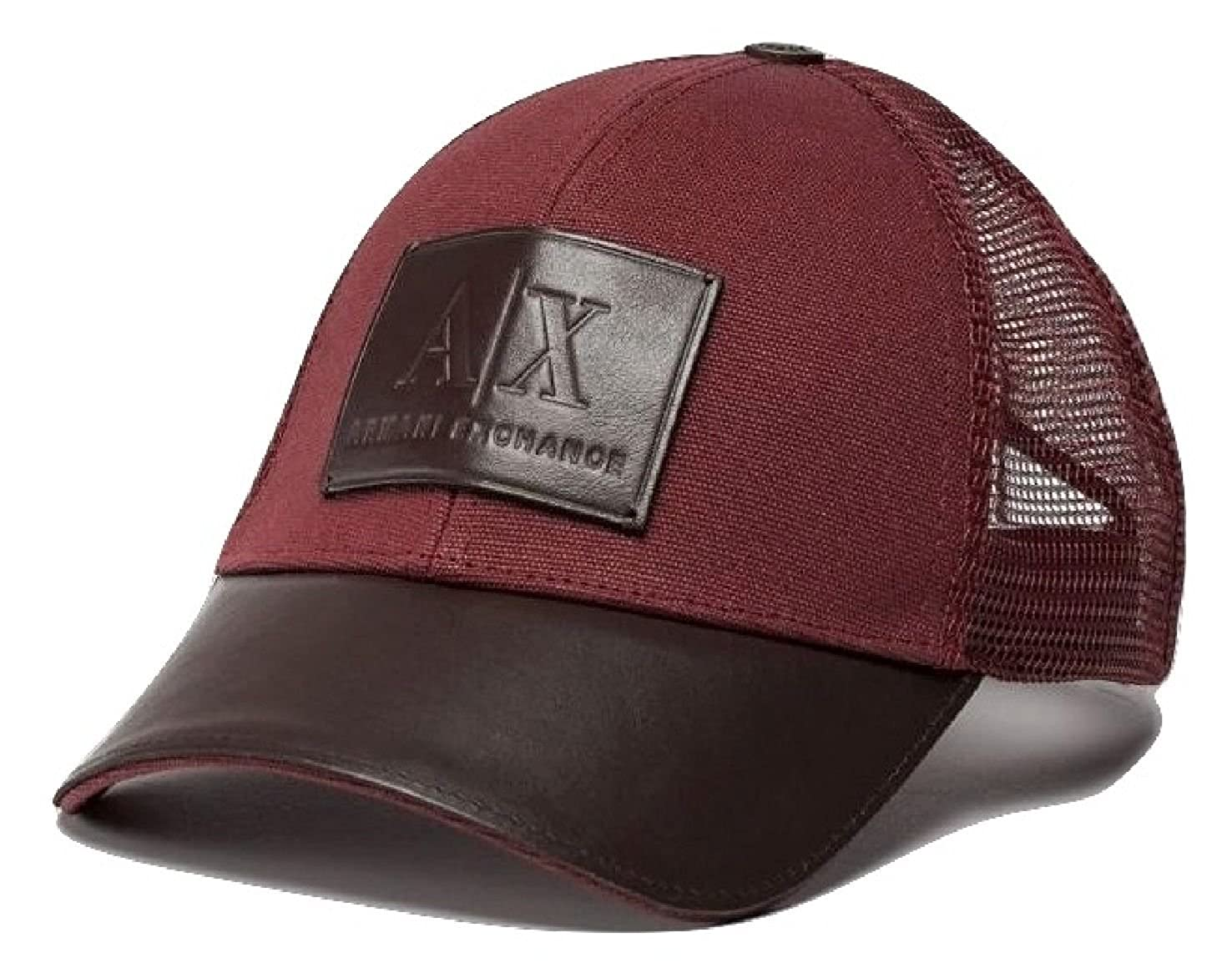 Amazon.com  Armani Exchange AIX Men s Leather Logo Patch Mesh Trucker Hat  in Brick Red  Clothing 6cd2c2ba61b