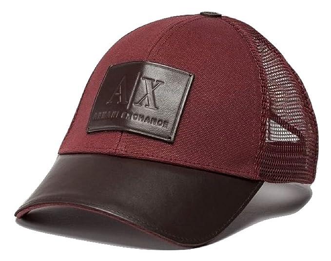 8653633169c Image Unavailable. Image not available for. Color  Armani Exchange AIX Men s  Leather Logo Patch Mesh Trucker Hat ...