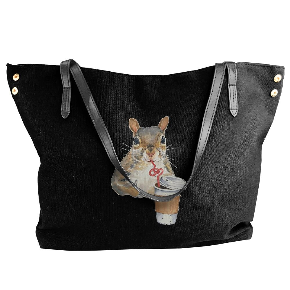 BlackRed Cute Squirrel Women's Modern Black Shoulder Bag