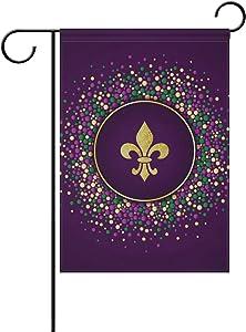 YZGO Purple Pattern Fleur De Lis Fake Glitter Garden Flag Home Polyester Fabric Welcome House Yard Banner,12x18 Inch