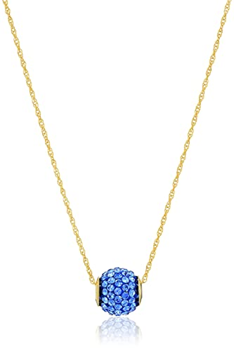 1b9c3bb6db 10K Yellow Gold Swarovski Elements Sapphire Crystal with 14K Gold Filled  Chain Slide Ball Pendant Necklace