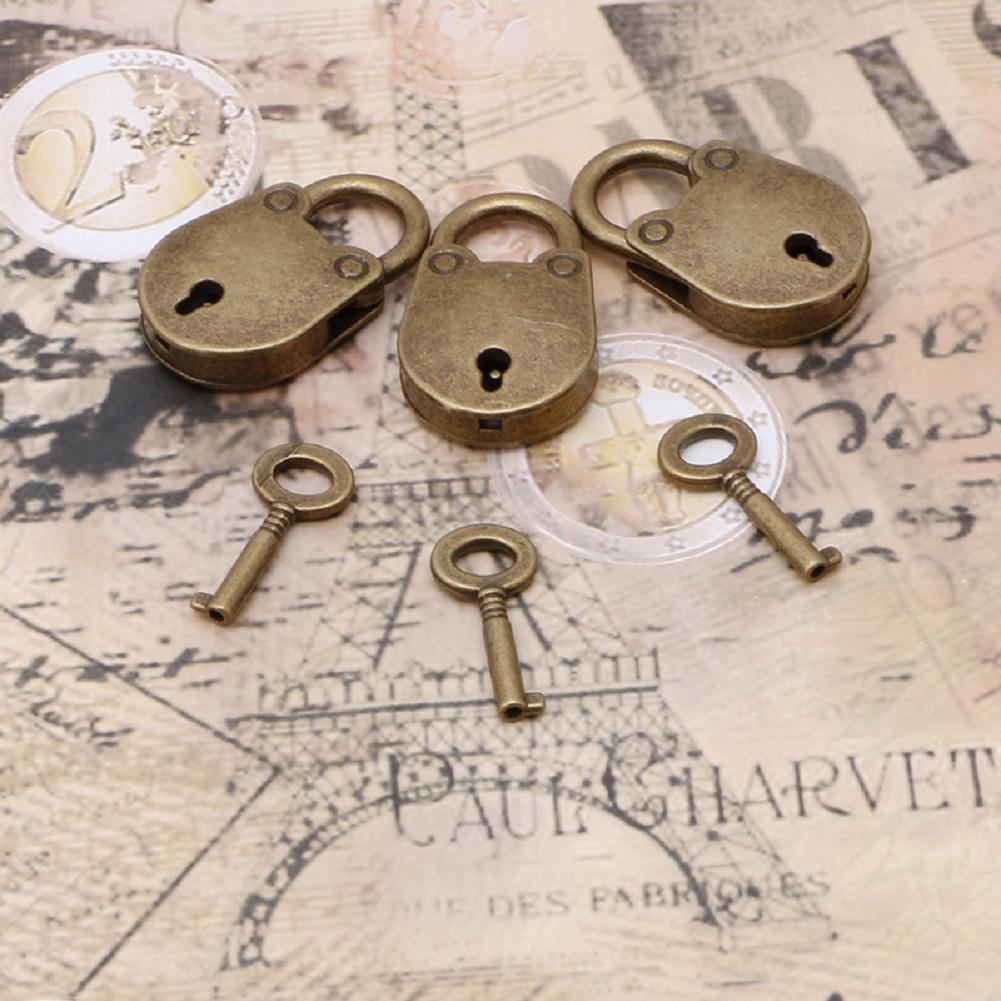 lotto di 3 Autone vecchio stile antico vintage mini Archaize lucchetti chiave serratura con chiave