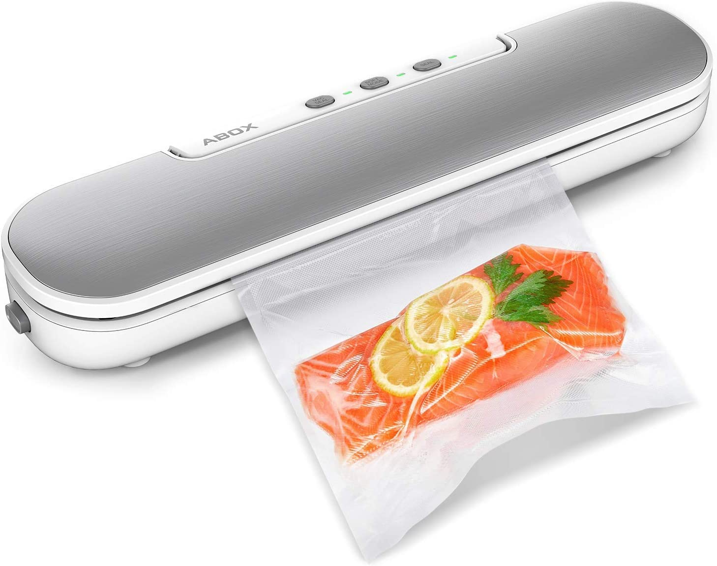 Vacuum Sealer Machine, ABOX V69 Portable Food Vacuum Air Sealing System for Food Saver Storage, Compact Design with Magnets and 10 Bags (Renewed)