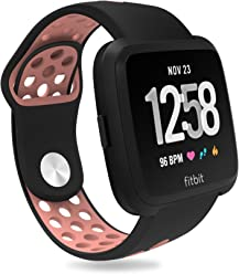 For Fitbit Versa Bands, Penta Stars Silicone Waterproof Band for Women and Men Fits Small & Large Wrists with Two Tone Slim Breathable Sport Design