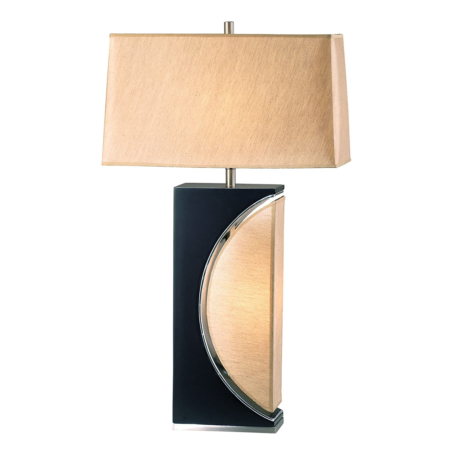Nova Lighting 0736 Half Moon Table Lamp Dark Brown Wood /& Brushed Nickel with Etruscan Gold Shade