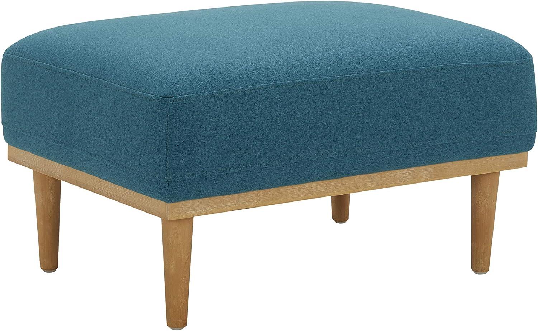 "Amazon Brand – Rivet Alvin Contemporary Livingroom Ottoman, 29.5""W, Aqua Teal Blue"