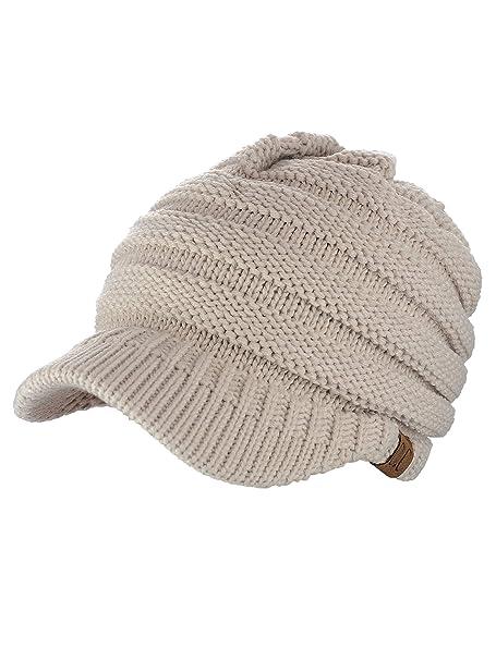 C.C Warm   Thick Cable Knitted Brim Visor Beanie Cap 04d3967ec7d