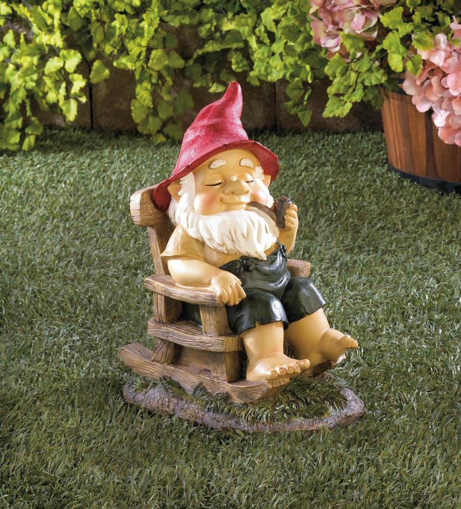 Amazon.com : Rocking Chair Grandpa Gnome Garden Decor Statue Deck ...