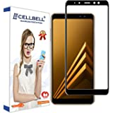 Cellbell Full Glue Edge To Edge Tempered Glass Screen Protector With Installation Kit For Samsung Galaxy A8 Plus (2018) - Clear Transparent With Black Rim