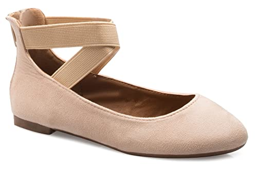 3118f588b53d0 OLIVIA K Girls Elastic Cross Strap Slip On Sandal - Comfortable Closed Toe  Ballet Flats - Low Ankle Strap Shoe
