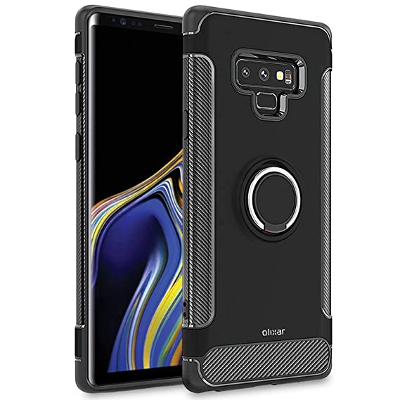 newest collection aa372 af0a0 Olixar Samsung Galaxy Note 9 Ring Case - Finger Loop - Tough Protective  Design - Built in Media Viewing Stand - ArmaRing - Black