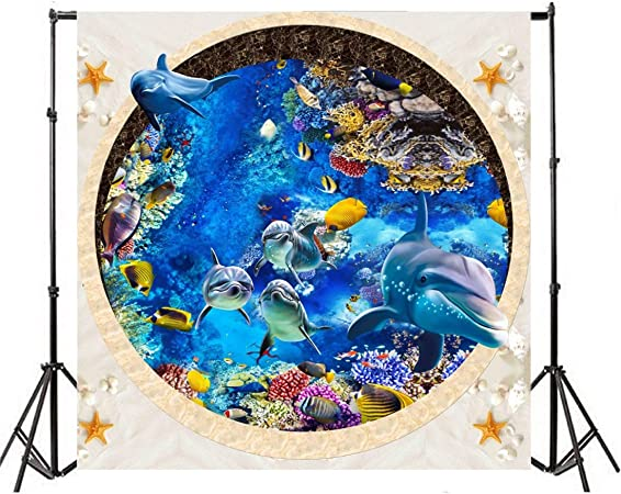 8x10 FT Backdrop Photographers,Dolphins at Sunset with Water Splashes Aquatic Playful Animal at Dusk Background for Kid Baby Boy Girl Artistic Portrait Photo Shoot Studio Props Video Drape Vinyl