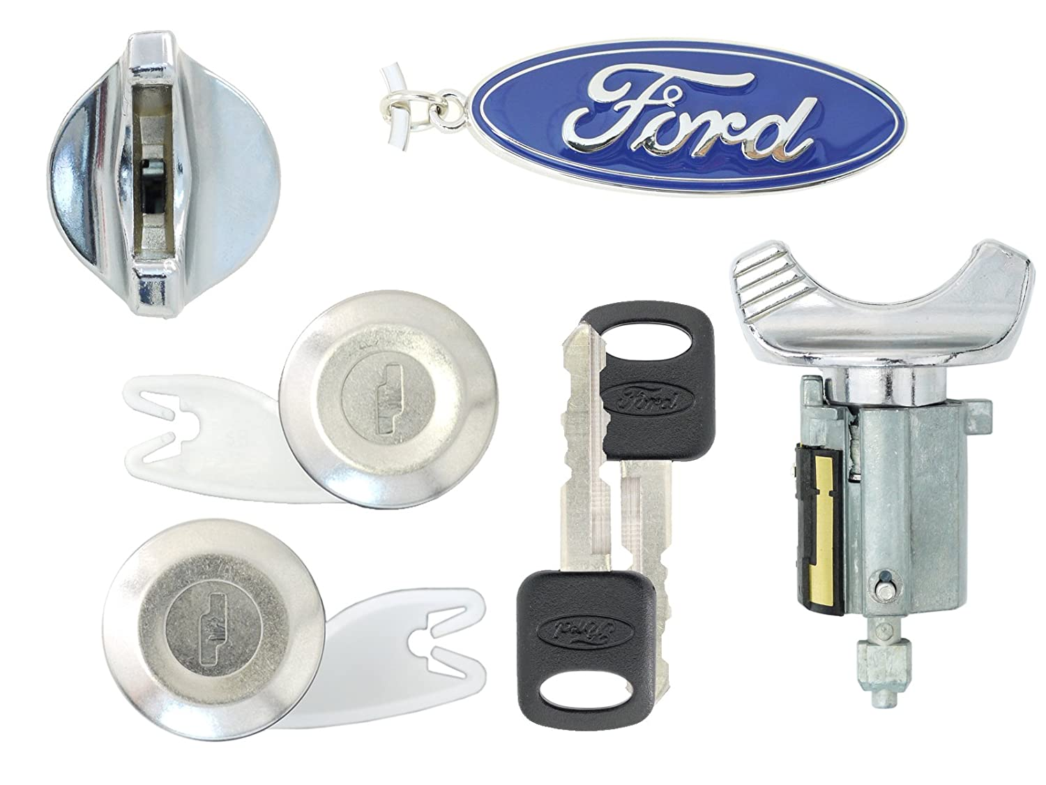 Ford 1992-95 Ignition /& Door Lock Cylinders with 2 Keys Chrome F250 Pick Up F150