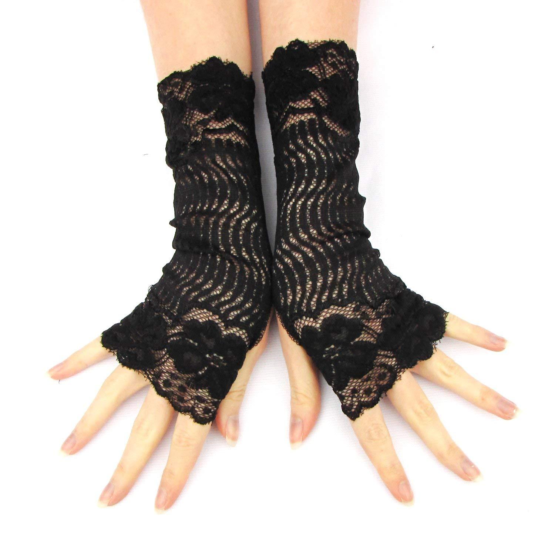 Victorian black lace fingerless gloves Halloween Cosplay Weddings