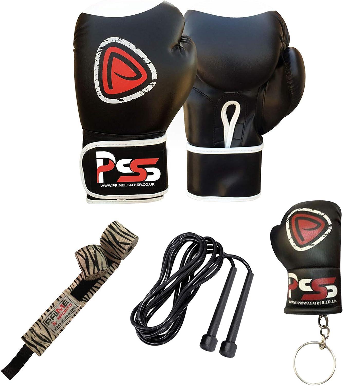 Prime Leather Adulto–Guantes de Boxeo Entrenamiento Manoplas MMA Vendas, Color Blanco S8
