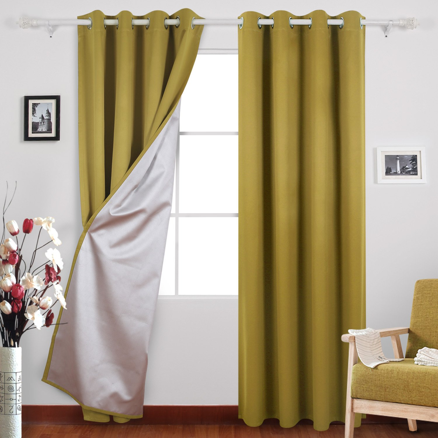 Deconovo Thermal Insulated Blackout Curtains with Backside Silver Window Treatments Curtains Set for Boys Room