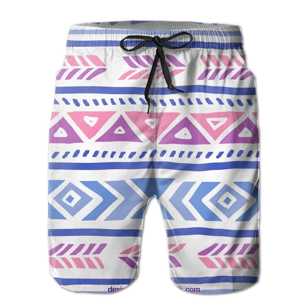 Cl4zyott Geometric Fringes Blue Purple Pink Mens Swim Trunks Quick Dry Beach Shorts Board Shorts