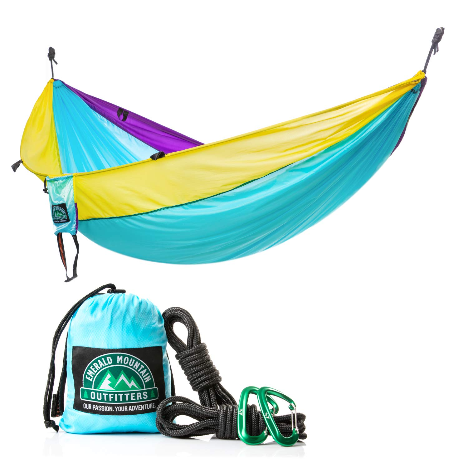 Emerald Mountain 2 Person Camping Hammock – Double Hammock, Parachute Nylon, Snag-Proof Carabiners, 6 Gear Loops – for Outdoor Use, Hiking, Backpacking, Travel, Sleeping, Survival
