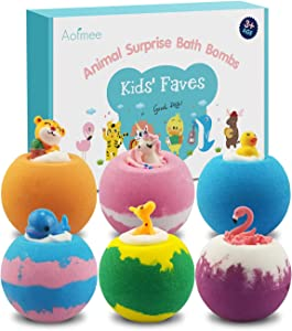 Aofmee Bath Bombs for Kids, Handmade Natural Bath Bombs with Surprise Inside, Shea Cocoa Butter Moisturize, Spa Fizzies Bath Bomb Kit, Birthday Christmas Holiday Gifts for Women, Girls, Boys