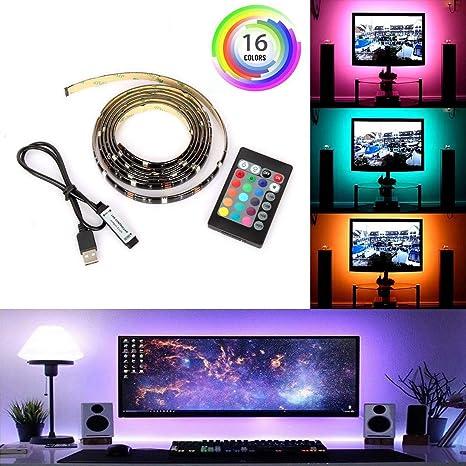 Luces de tira LED para TV, biuday 1/ 2m USB 5050RGB TV Backlight, Control remoto, 16 colores Bias Lighting Flat Screen TV, PC (2m): Amazon.es: Iluminación