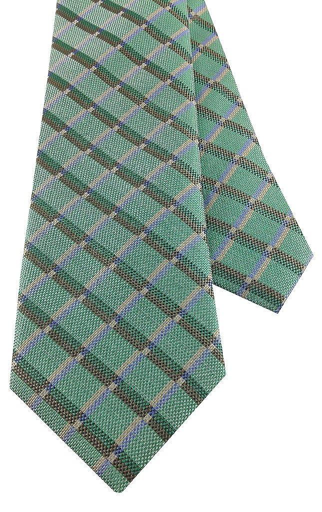 Boys Self Tie Necktie Bright Green with Green Brown Grid Design