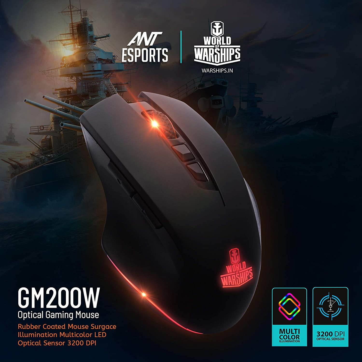 Ant Esports GM200W Gaming Mouse Wired, 6 Programmable Buttons, 3200 DPI Adjustable, with 7 Breathing Lights, Comfortable Grip Ergonomic Optical PC Computer Gaming Mouse
