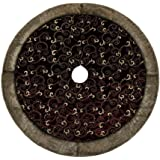 """Valery Madelyn 48"""" Luxury Collection Burgundy and Gold Christmas Tree Skirt"""