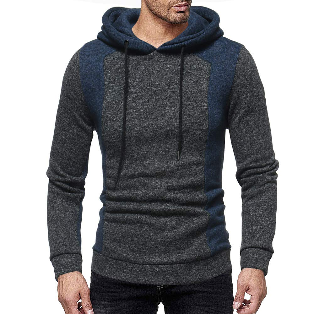 Rambling New Mens Autumn Casual Patchwork Long Sleeve Slim Fit Hoodie Sweatshirt Shirt