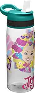 Zak Designs JOJA-S830-AMZ Jojo Siwa Kids Water Bottle with Straw and Built in Carrying Loop, Durable Water Bottle Has Wide Mouth and Break Resistant Design is Perfect for Kids Girls (25oz, Green, Tritan, BPA Free)