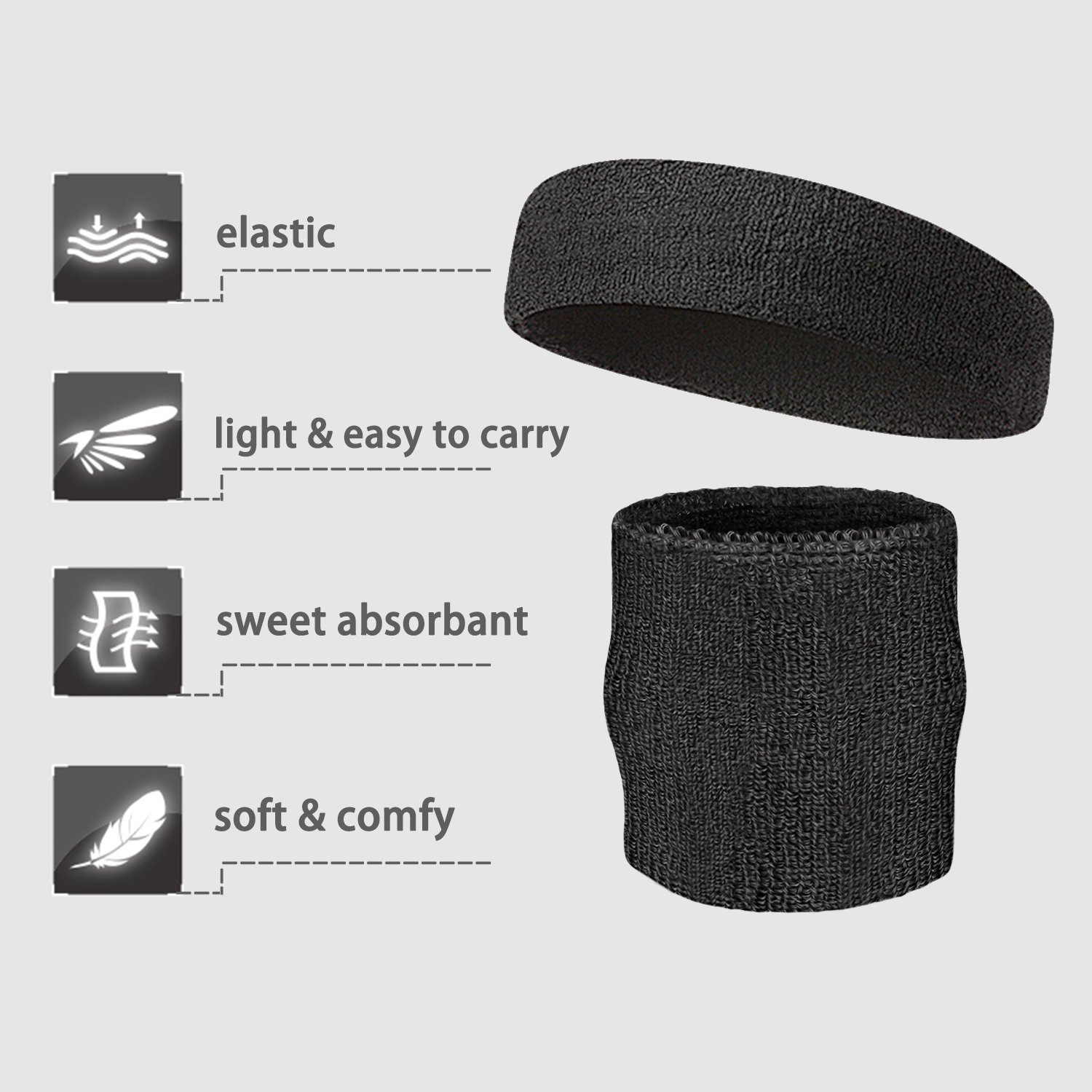 Elehere 2018 New Sweatband Wristband for Sports Basketball Football Absorbent Party Outdoor 3.5'' Pack of 6 (Black- Headbands & Wristbands) by Elehere (Image #4)