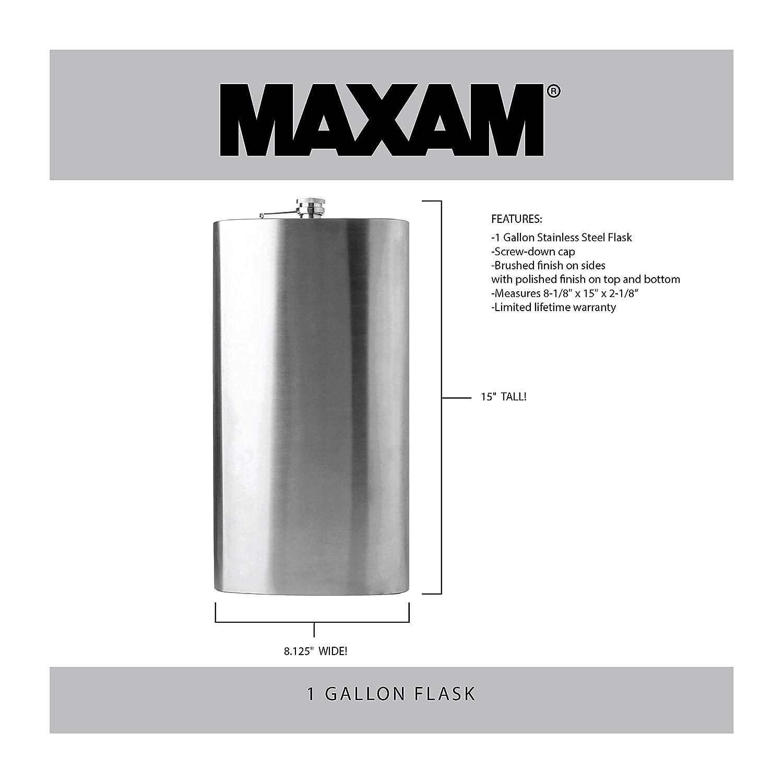 Amazon.com: Petaca en acero inoxidable Maxam, Plateado ...