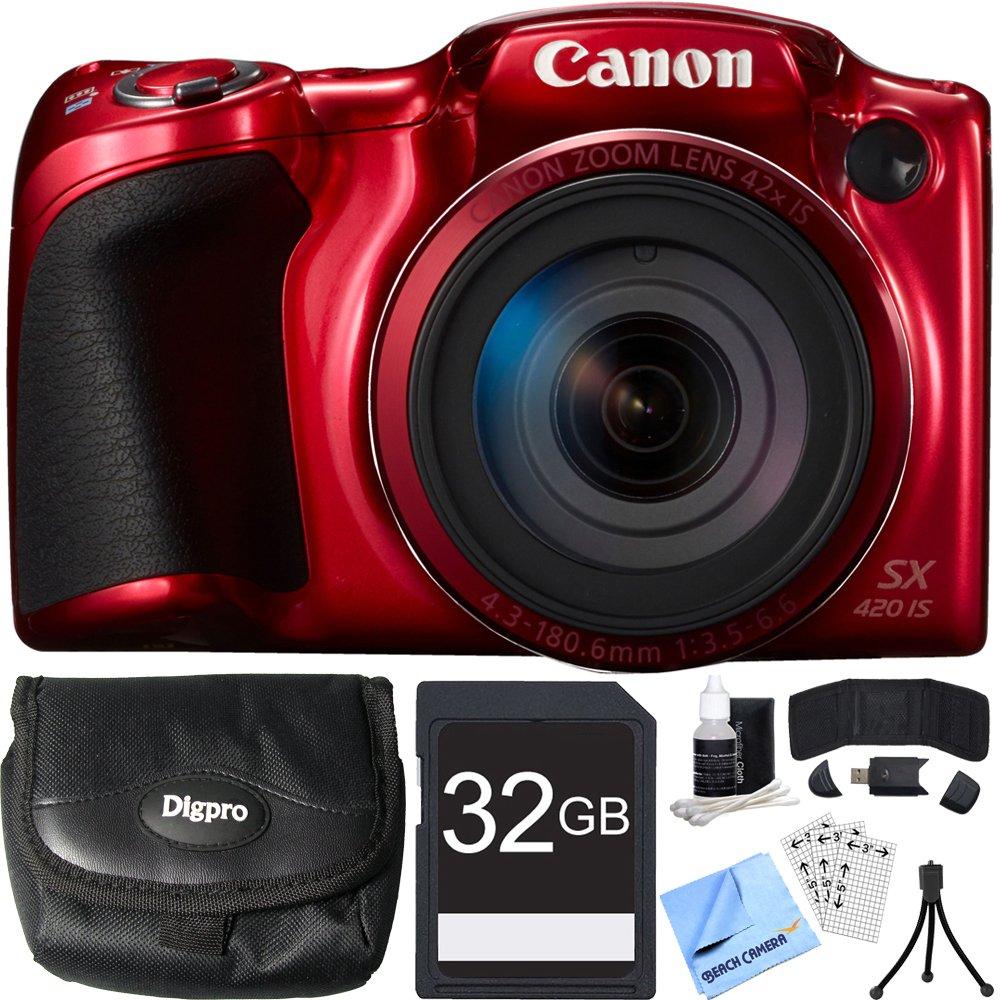 Canon PowerShot sx420 is 20 MPレッドデジタルカメラ32 GBカードバンドルIncludesカメラ、32 GBメモリカード、リーダー、財布、ケース、ミニ三脚、スクリーンプロテクター、カメラクリーニングキットとビーチ布   B01D0NB070